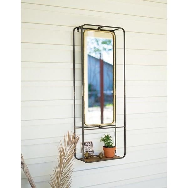 Antique Brass Mirror w/ Shelf