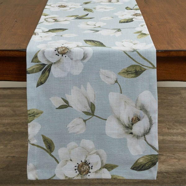 """Magnolia Floral Table Runner 72"""""""