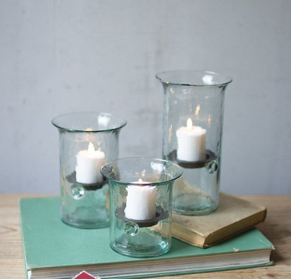 Recycled Glass Votive Cylinders (Set of 3)