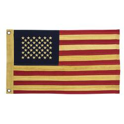 """Aged Tea Stained Cotton Flag 28"""""""