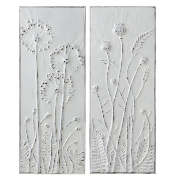White Embossed Flower Wall Art