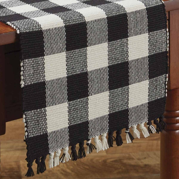 """Wicklow Table Runner - Black and Cream  36"""""""