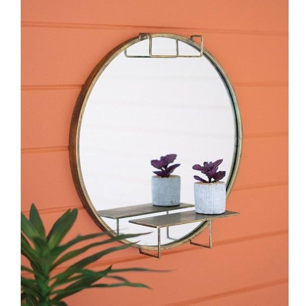 Round Mirror w/ Shelf