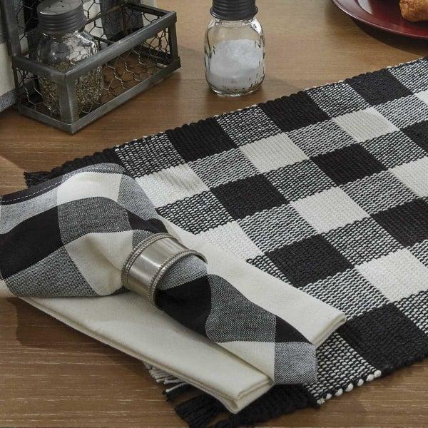 Napkin -Wicklow Check Black & Cream
