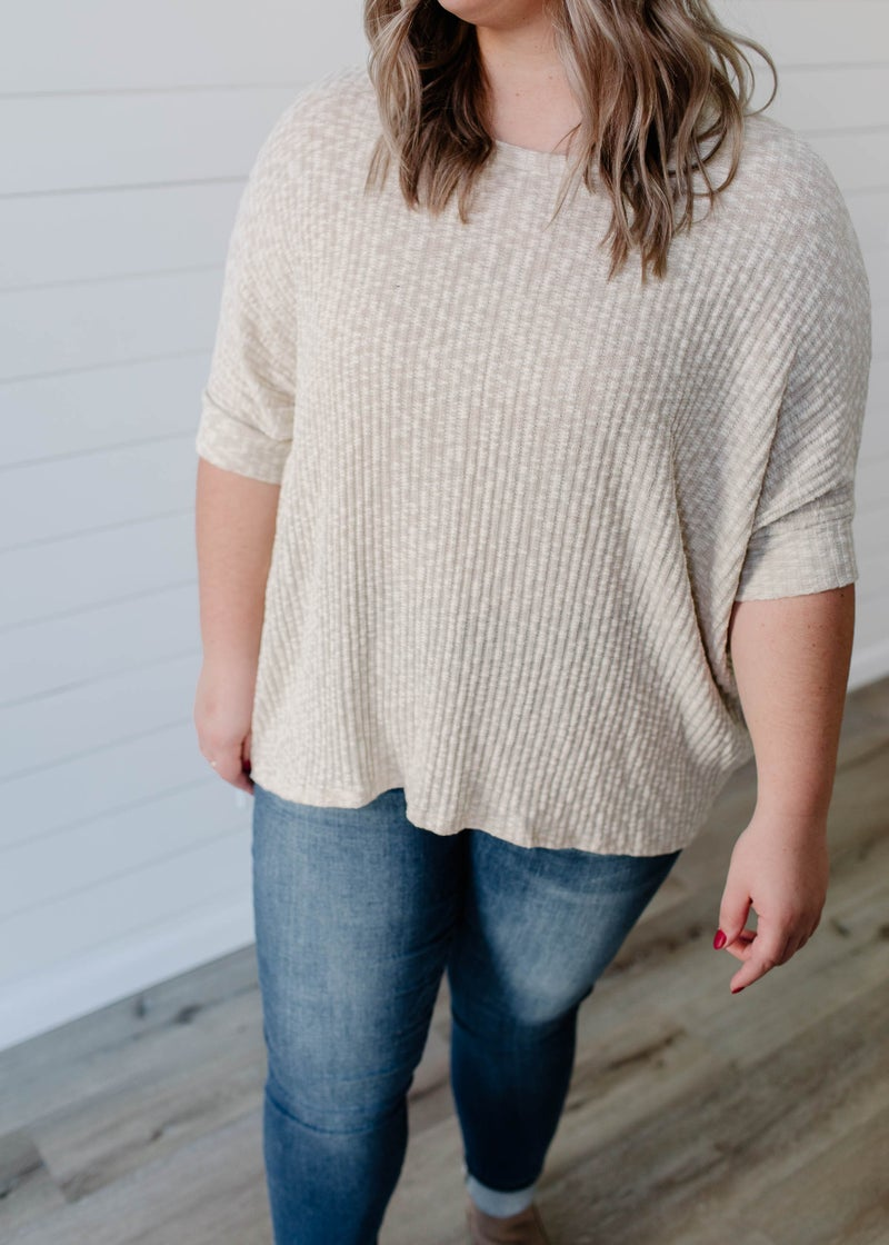 Beth - Oatmeal Textured Dolman Sleeve Top