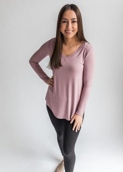 Ashley - Long Sleeve V-Neck Top Light Rose