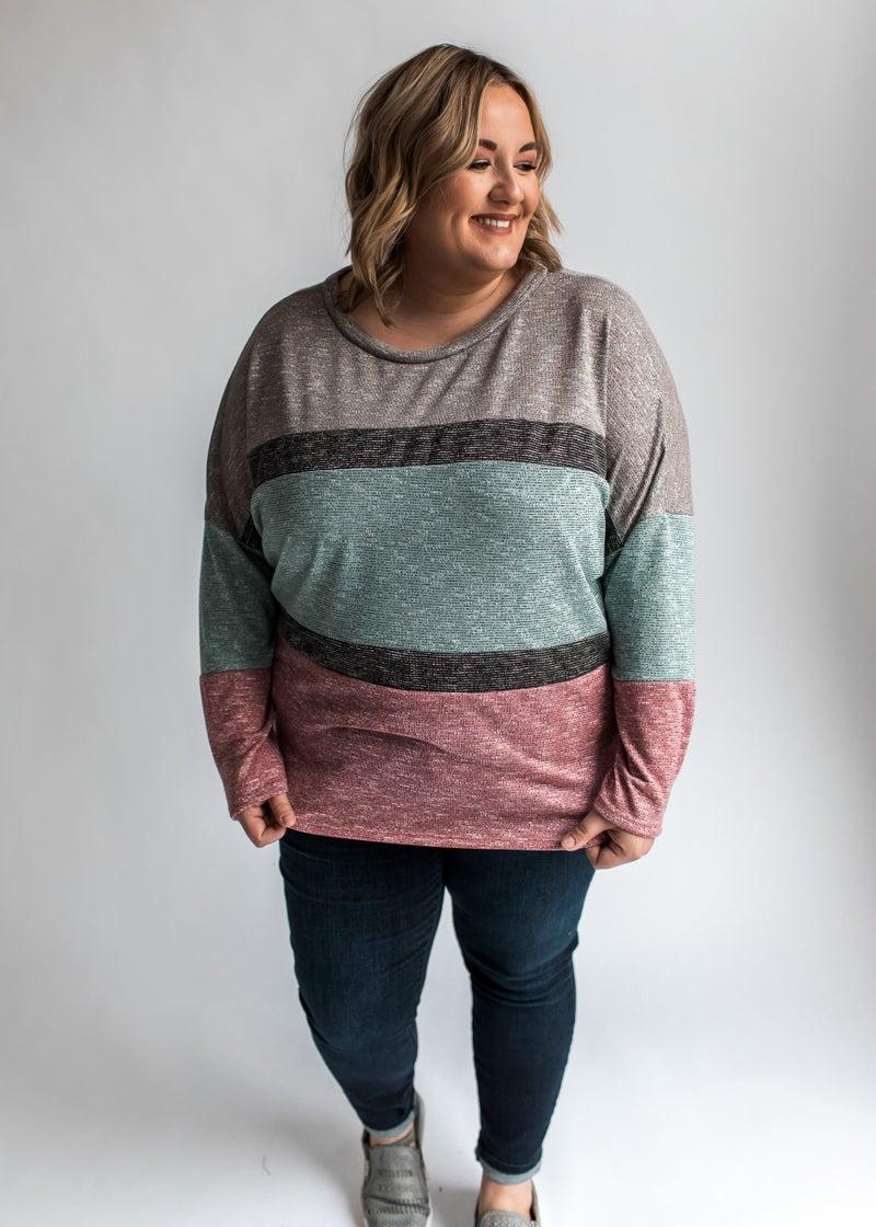 Vanessa - Multi Stripe Color Block Top