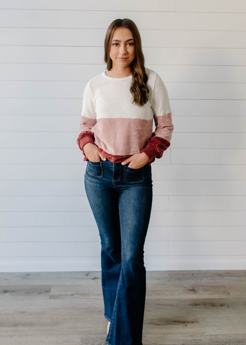 Harper - Ivory and Mauve Color Block Sweater