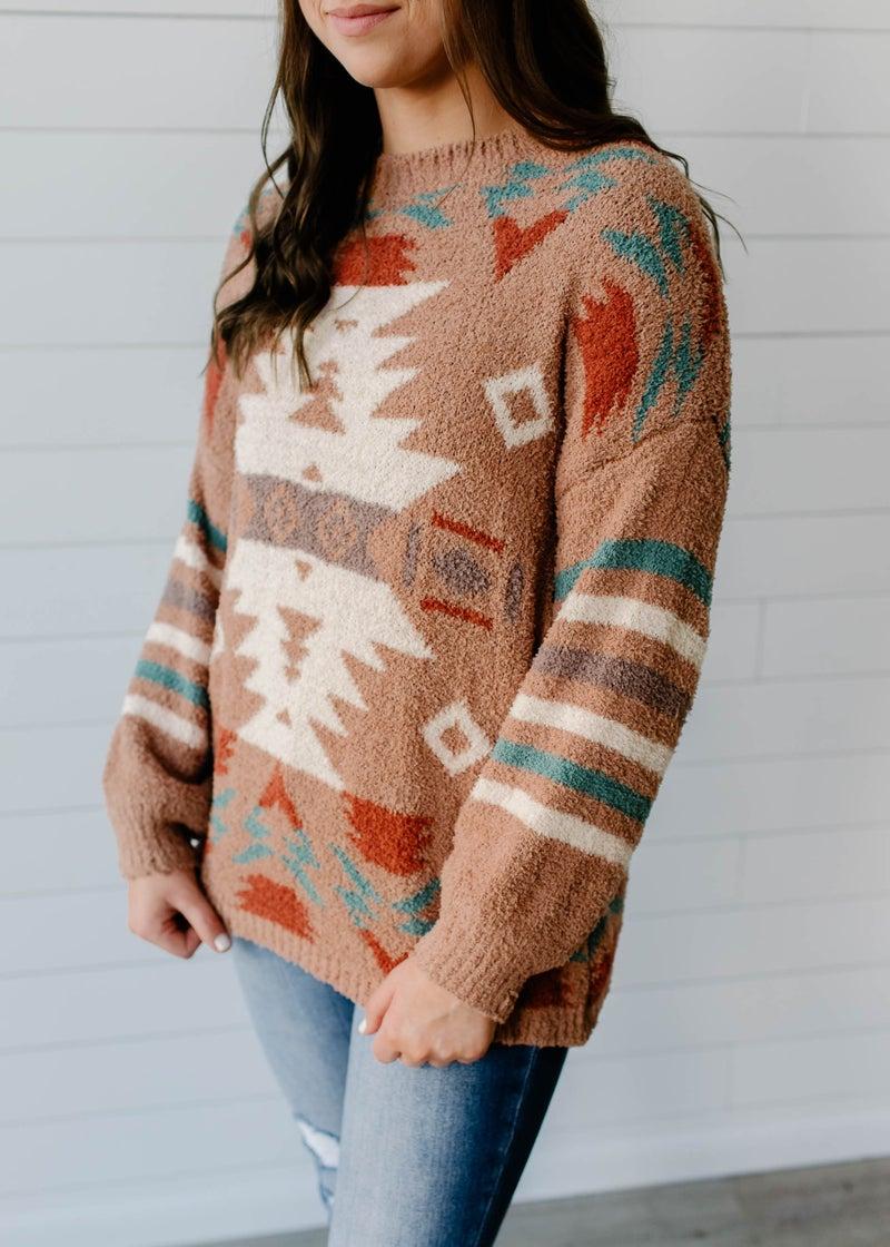 Carlotta - Camel Aztec Sweater