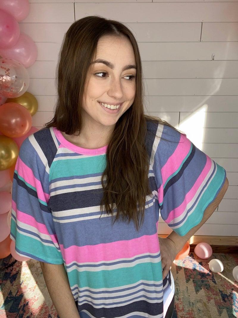 Bianca - Multi Color Striped Raglan Sleeve Top