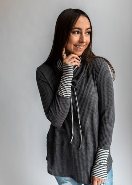 Melody - Charcoal Double Layered Cowl Neck