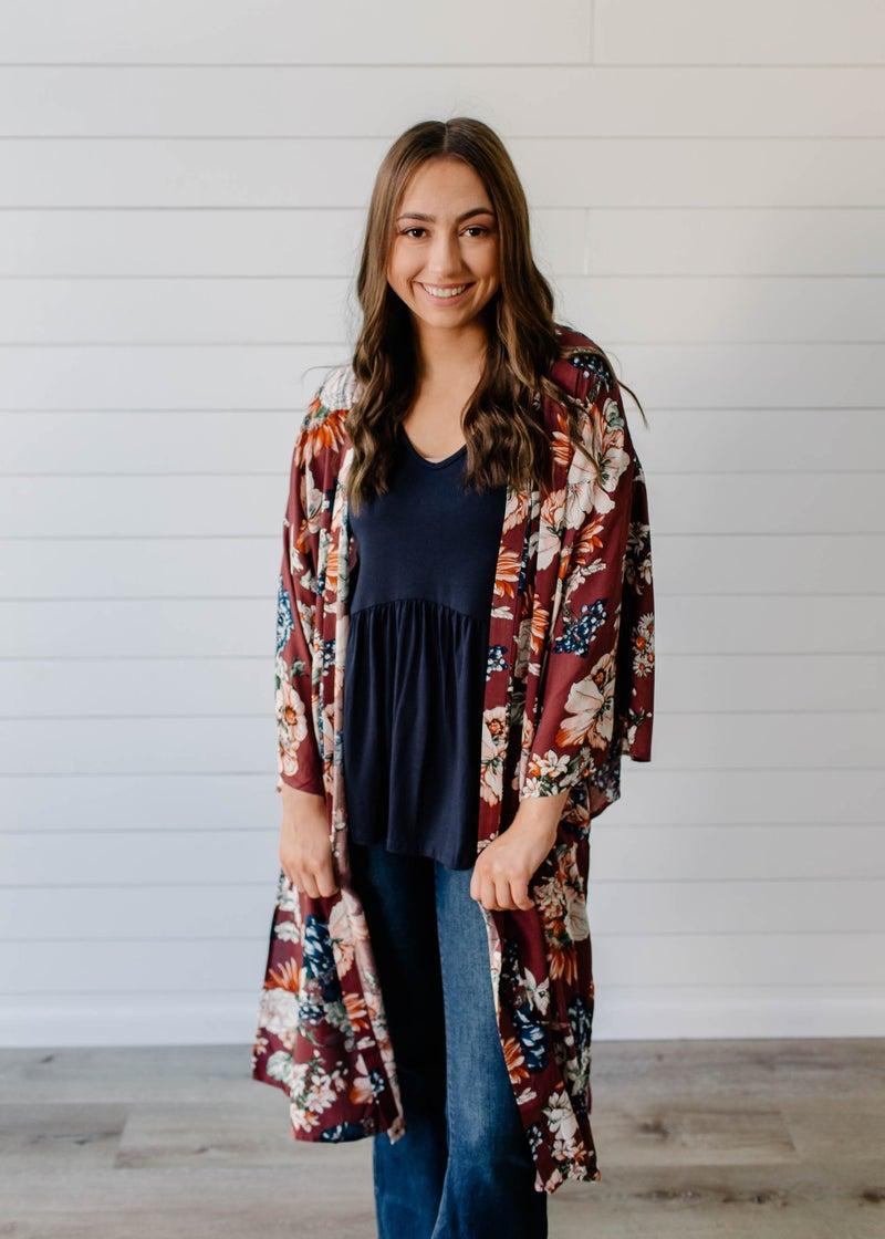 Breanna - Ash Purple Floral Kimono
