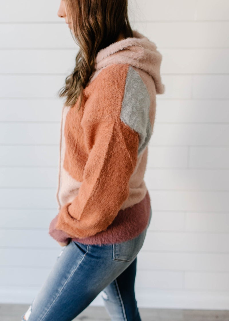 Erma- Color Block Hooded Sweater