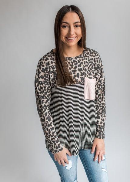 Faith - Animal Print and Stripes Color Block Top