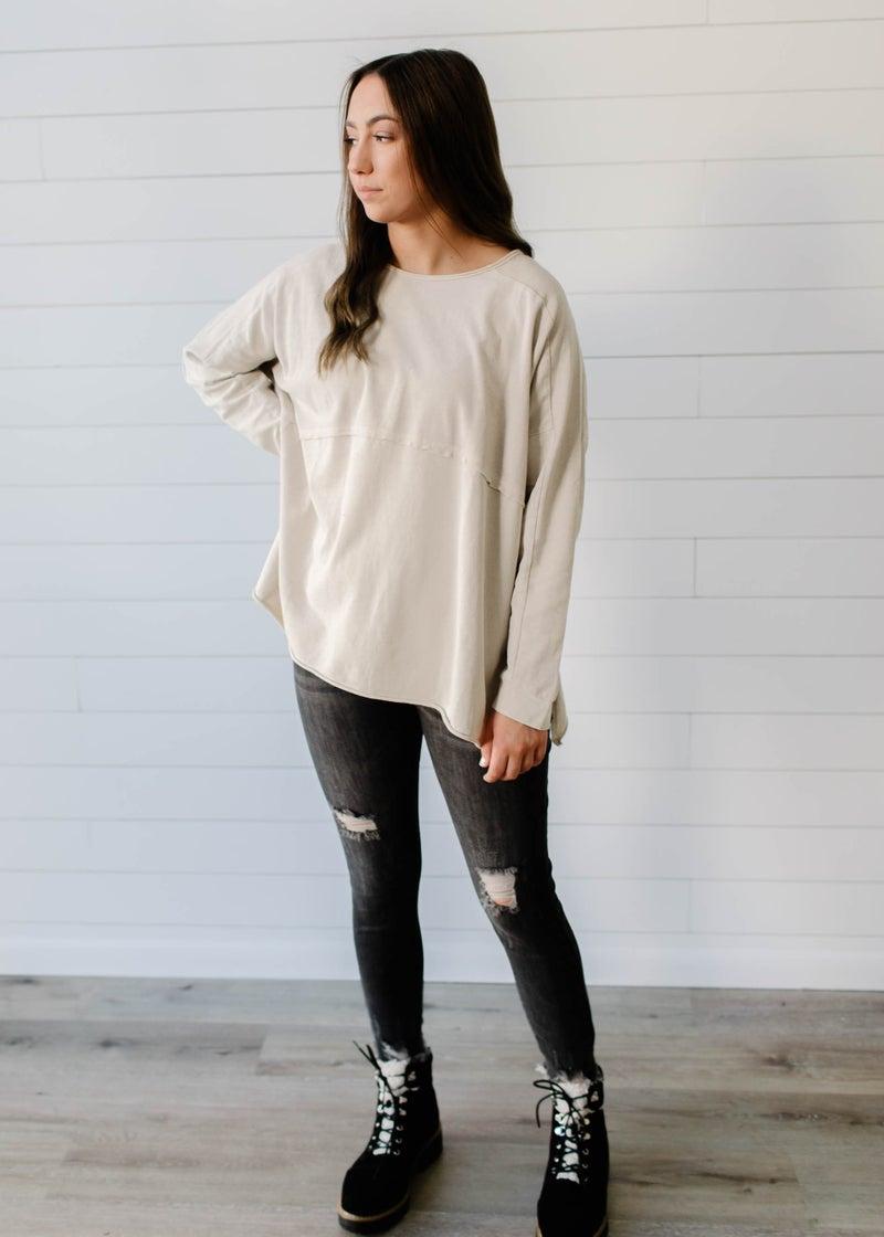 Harmony - Long Sleeve Pullover Tunic Khaki