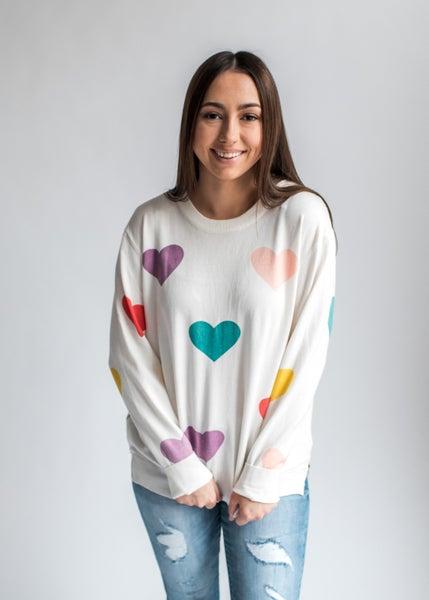 Lovely - Multi-Color Heart Sweater