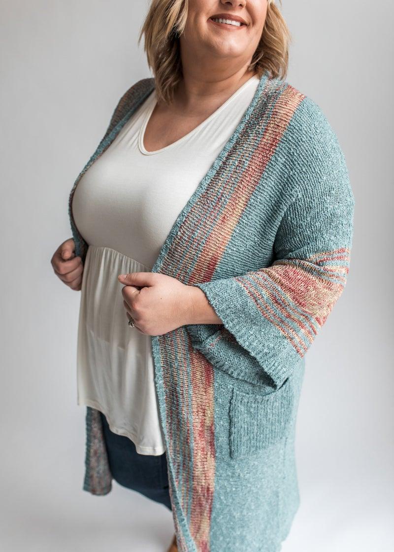Cordelia - Teal Sweater Cardigan w/ Multi-Color Stripes