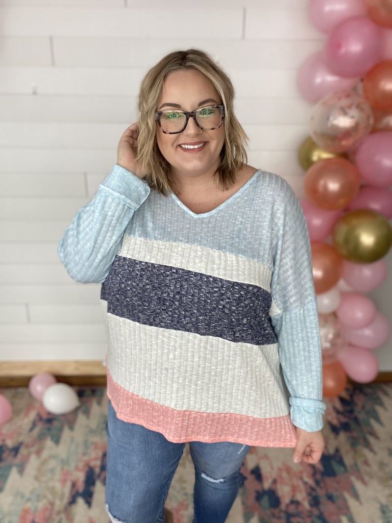 Adeline - Light Blue Two Toned Ribbed Color Block Top