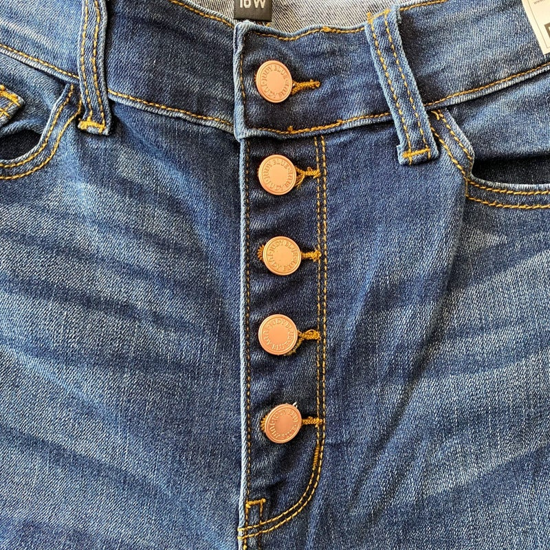 Kingston - Rose Gold Button Fly Cuffed Skinny