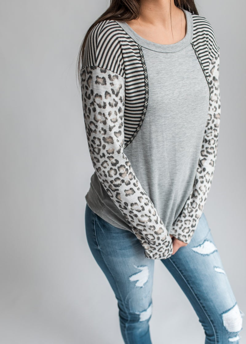 Blaire - Grey Long Sleeve Top with Contrast Sleeves