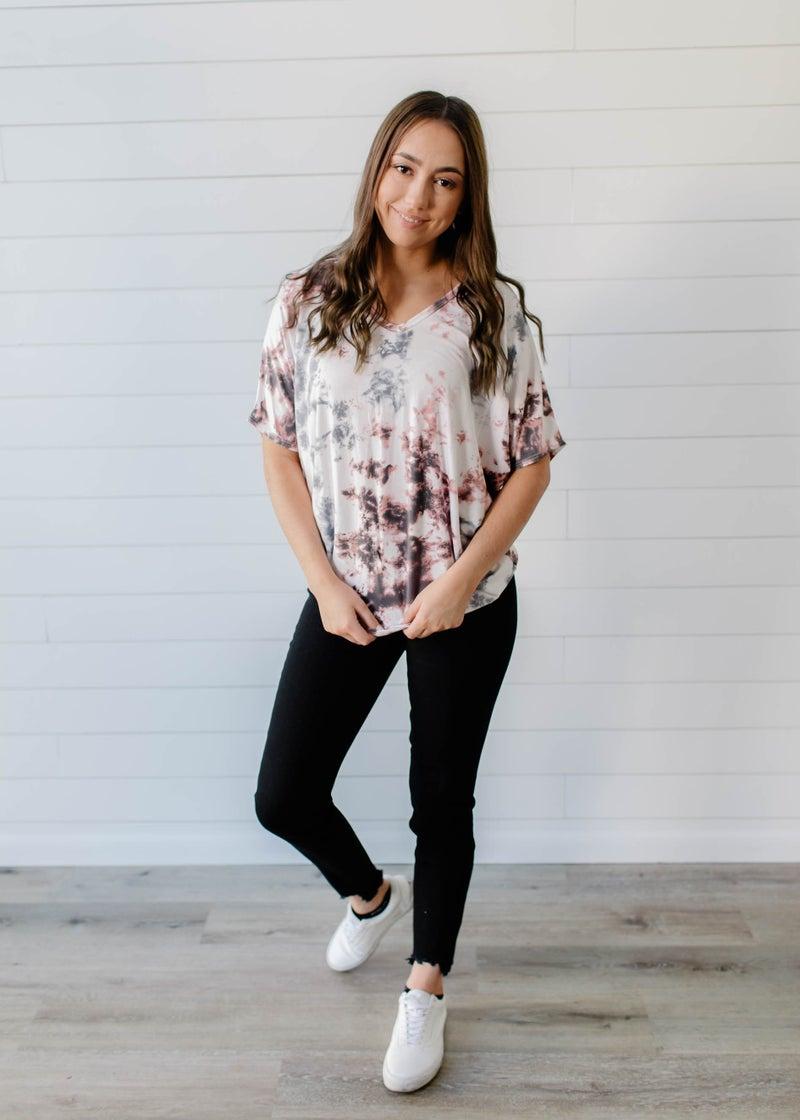 Jaila - Pink and Grey Tie Dye Dolman