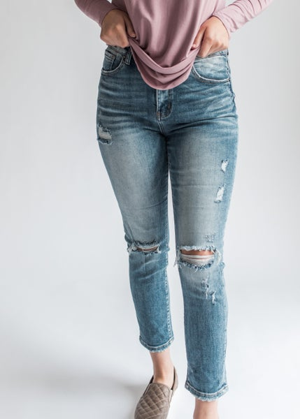Atticus - High Rise Distressed Relaxed Skinny
