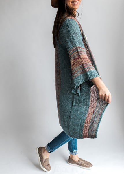 Cordelia - Teal Sweater Cardigan w/ Multi-Color Stripes
