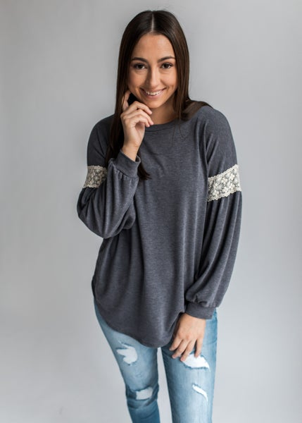 Emily - Faded Navy Top with Lace Contrast