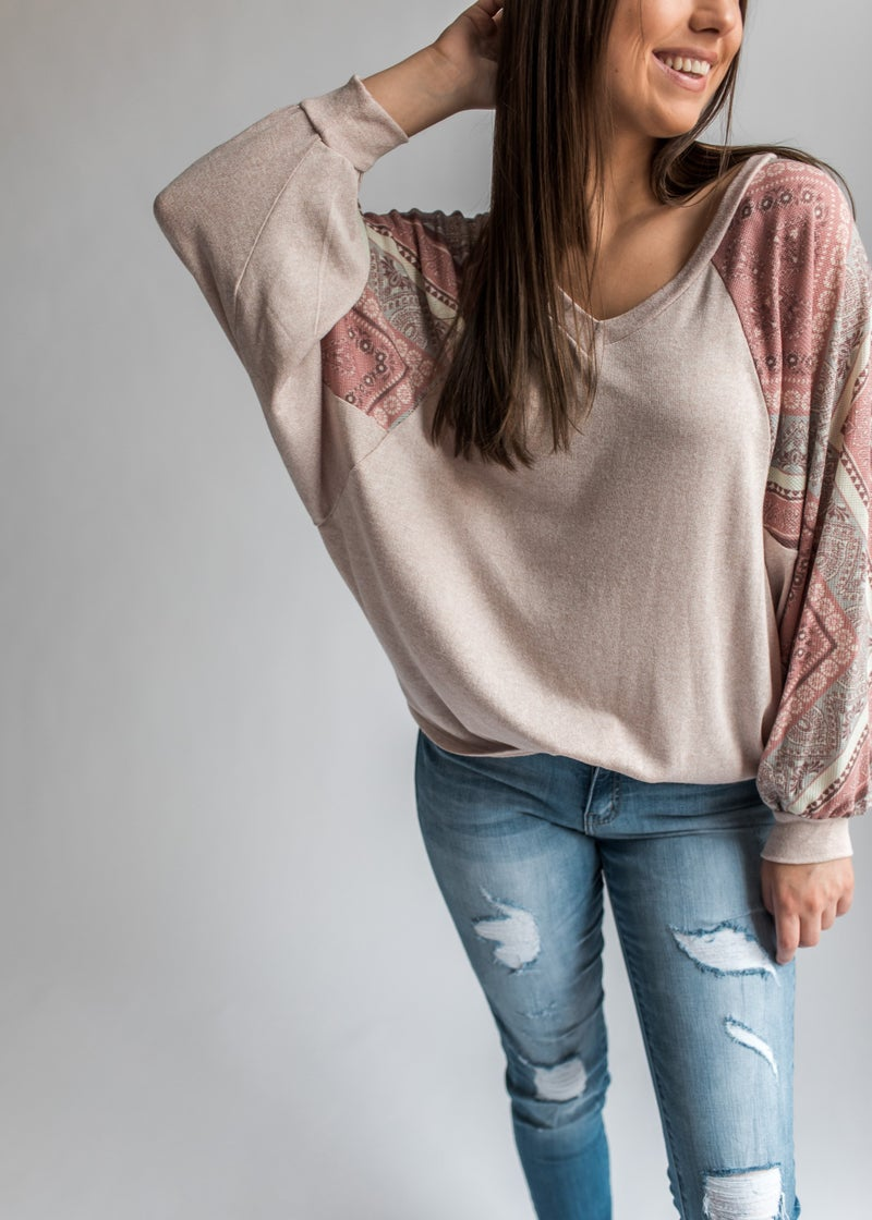 Zaylee - Oatmeal Top with Paisley Balloon Sleeves