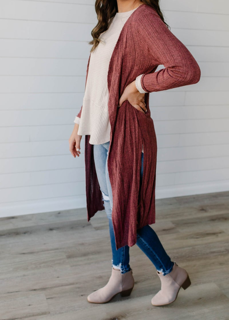 Molly - Mauve Brushed Hacci Ribbed Duster