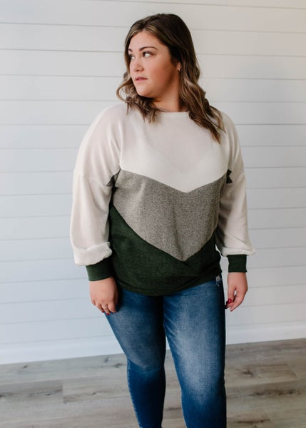 Chelsea - Olive Color Block Top