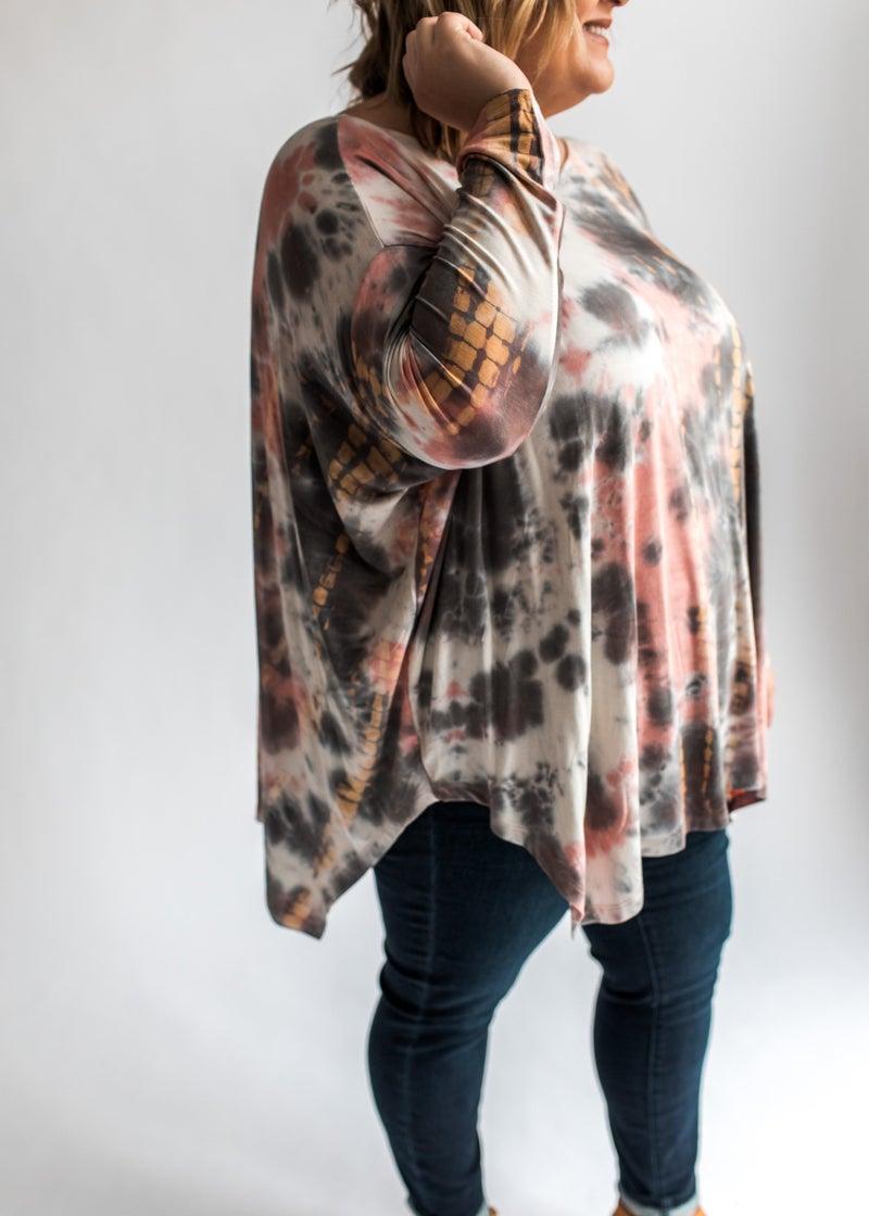 Camryn - Mauve Tie-Dye Dolman Sleeve Top