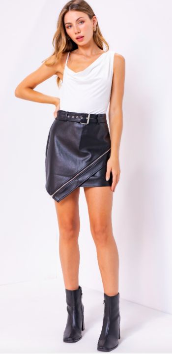 Leather Mini Skirt with Zipper Detail
