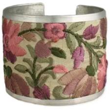 Light Pink Flower Embroidered Elegance Cuff Bracelet