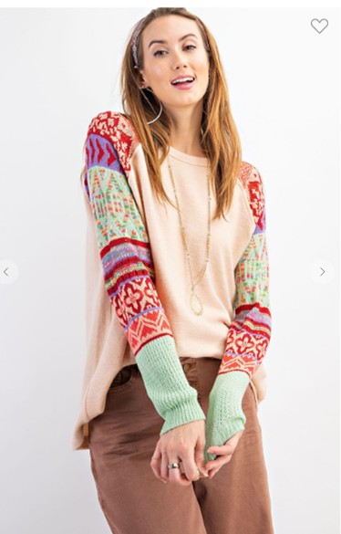 Top with Multi Color Knitted Long Sleeves