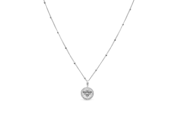 Charm & Chain Necklace Pave Queen Bee Silver