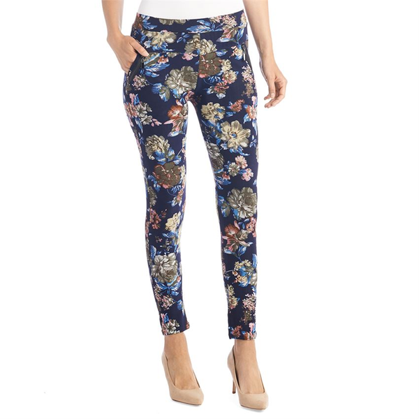 Jasmine Zip Pocket Leggings Navy Floral