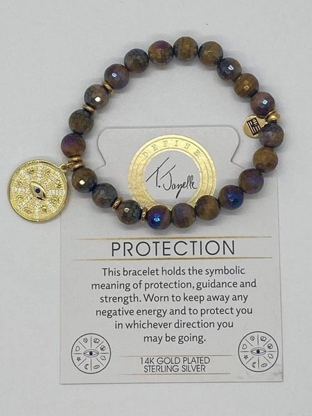 T. Jazelle Tiger's Eye Bracelet with Gold Protection Charm