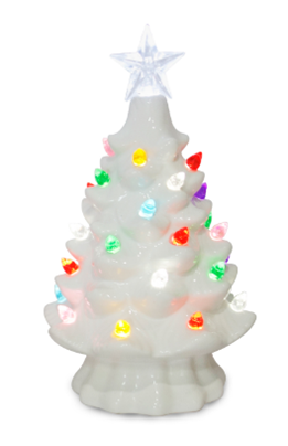 "7.5"" White Ceramic Light Up Tree w Multi Colored Bulbs"