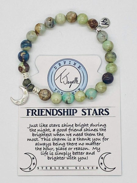 T. Jazelle Turquoise Jasper Stone Bracelet with Friendship Stars Charm
