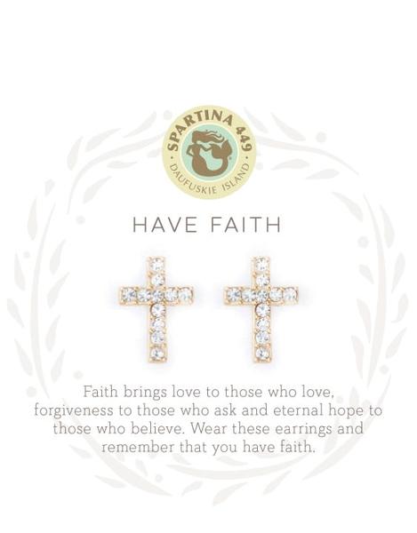 Sea La Vie Have Faith Stud Earrings Gold