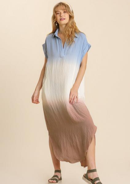Sheer Dip Dye Short Maxi Dress