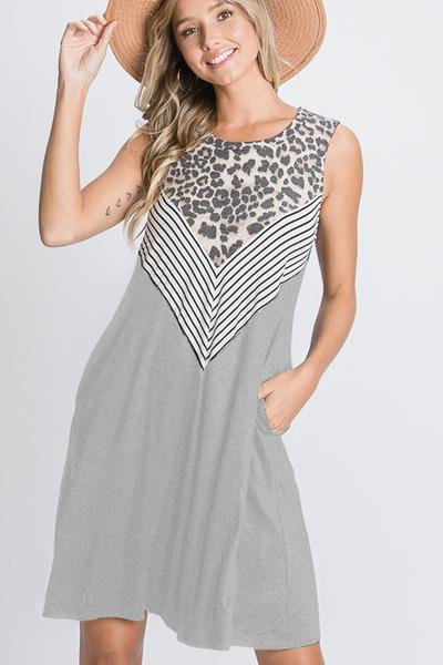Animal and Stripe Chevron Dress