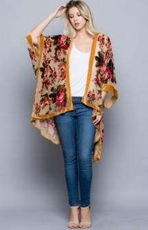 Velvet Rose Kimono Golden Beige One Size