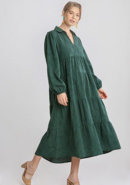 Textured LS Tiered Maxi Dress
