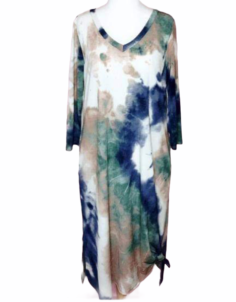 Dress with Blue, Green and Sand Tones