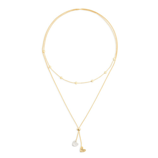 Lariat Charm Necklace Double Heart