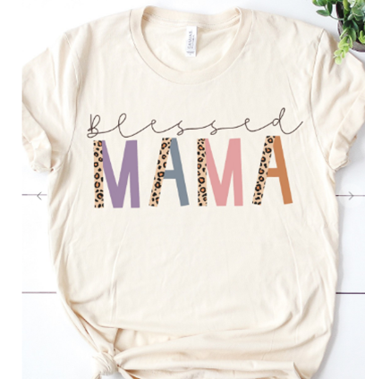 Blessed Mama Tee in Cream