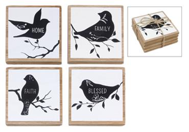 Wood Bird Design 4 pc Coaster Set