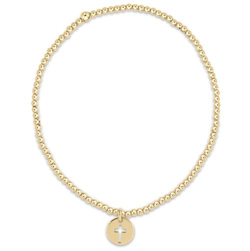 Classic Gold 2mm Bead Bracelet Blessed Gold Charm
